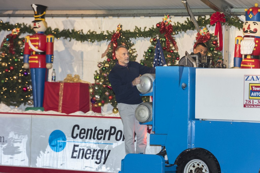 Bret Strong rides the Zamboni at the 2015 The Woodlands Ice Rink opening party.
