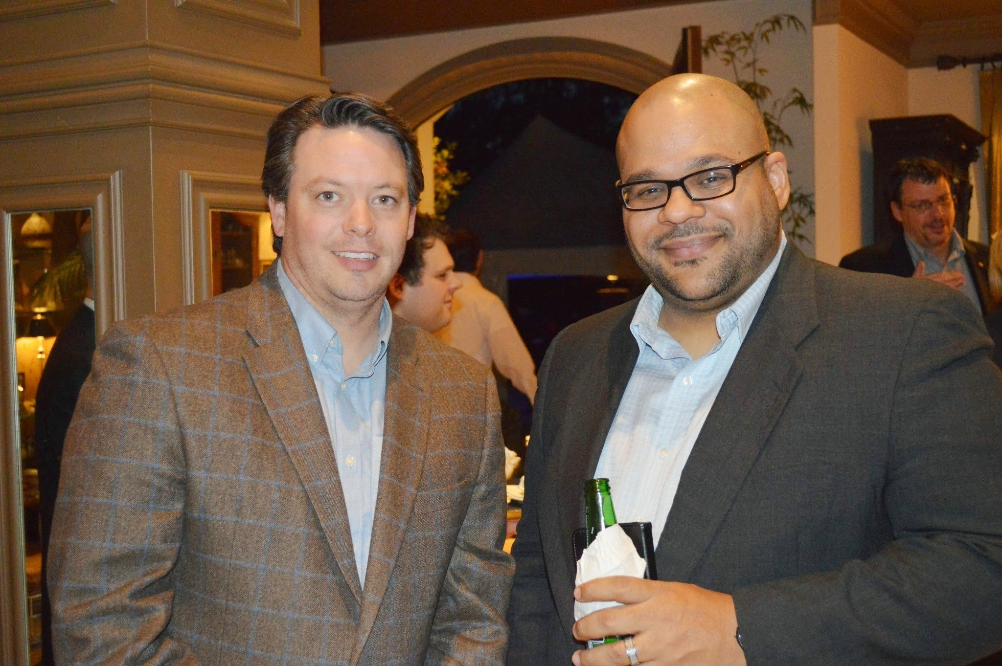 Pictured at the VIP event is Eric Thiergood (right) with guest Marc Berry of BOI Consulting